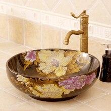 Fregaderos de cerámica mostrador cuenca lavado de estilo antiguo, Europeo lavabo en el cuarto de baño lavabo vanidades peonía