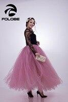 FOLOBE Stock Blush Pink Handmade 100m Maxi Long Tulle Skirt Fashion TUTU Skirts Womens Apparel Lolita