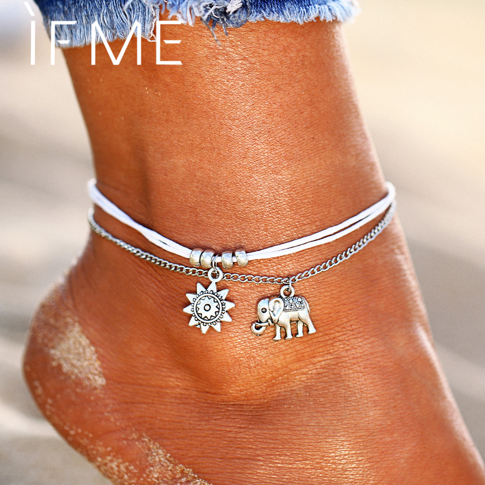 IF ME Vintage Multiple Layers Anklets for Women Elephant Sun Pendant Charms Rope Chain Beach Summer Foot Ankle Bracelet Jewelry