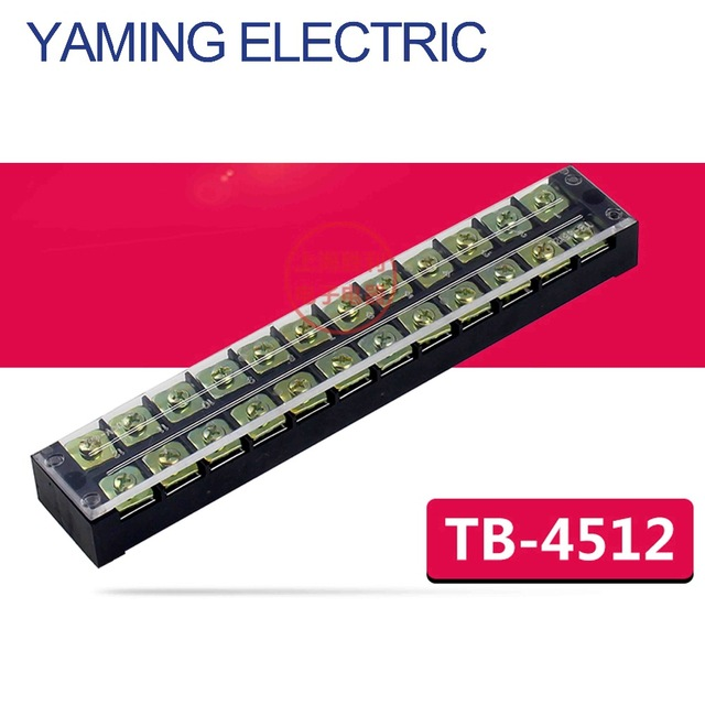 цена на P201 600V 45A TB-4512 12 Position Fixed Barrier Terminal Block electrical Connector Cable Wire Covered Screw Terminal Strip