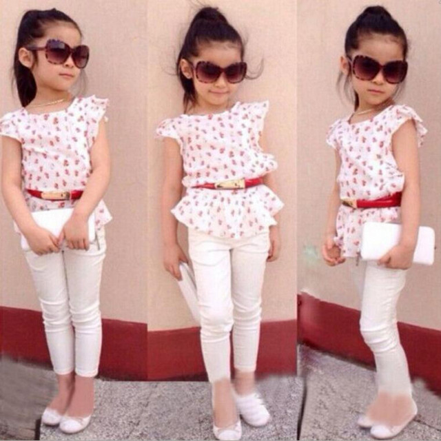 973a2fe06805f Summer new girl baby suit cute floral t-shirt + pants 2 sets for 2-7 years  old