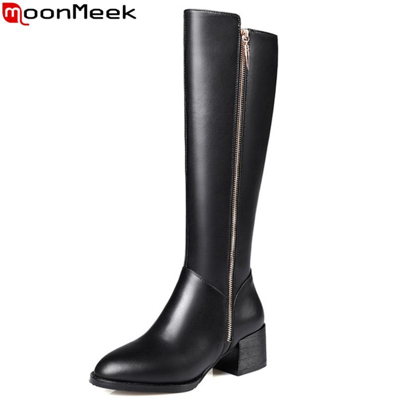где купить MoonMeek fashion autumn winter new arrive women boots zipper square heels high quality pu+genuine leather knee high boots по лучшей цене