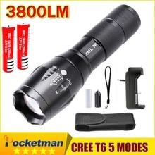 E17 XM-L T6 3800 Lúmenes Zoomable LED Linterna antorcha 2*4200 mah 18650 Batería Recargable + cargador + holster