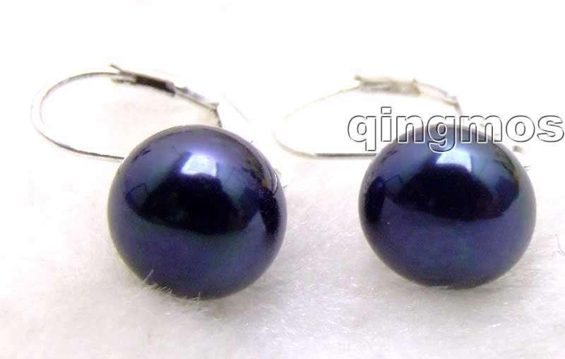 Vente gros 13-14mm noir naturel plat perle avec Stering argent 925 levier Earring-ear369 en gros/au détail livraison gratuite