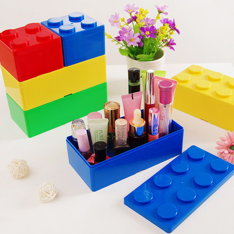 Creative Storage Box Building Block Shapes Plastic Saving Space Superimposed Desktop Handy Office