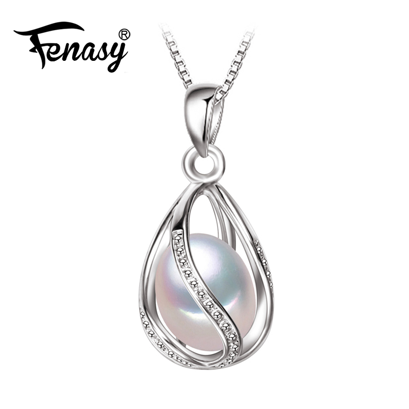 FENASY Pearl Jewelry,natural Pearl Pendant cage Necklace Party fashion style Freshwater Pearl Silver Necklace Pendant,gift box