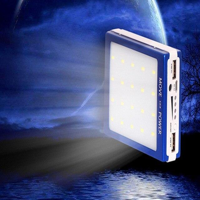 Powerbank Солнечное Зарядное Устройство Power Bank Dual USB 20 Шт. СВЕТОДИОДНЫЕ Лампы bateria externa Powerbank Внешняя Батарея для Смартфонов