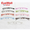 9 colors unisex fashionable colorful TR90 plastic rimless optical frame eyeglasses with light weight 2016 hotsale 620