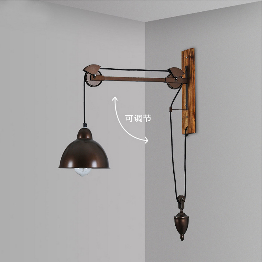 Pulley light fixtures wall lamps industrial wall lights lampe murale iron wood home lighting fixtures