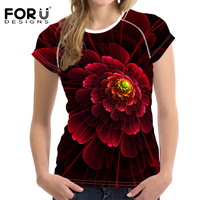 FORUDESIGNS Summer Harajuku Women T Shirt 3D Red Floral Printed Tee Shirts For Women T Shirts