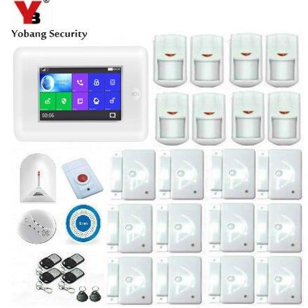 Yobang sécurité espagnol français voix sans fil GSM système d'alarme à domicile écran tactile WiFi GSM système de sécurité RFID feu capteur de fumée