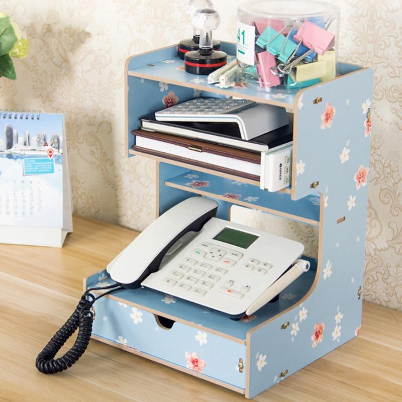 Coloffice 1 PCwooden serre-livres 4e étage étagère avec tiroir papeterie livre stand Téléphone titulaire bureau organisateur de bureau décoration