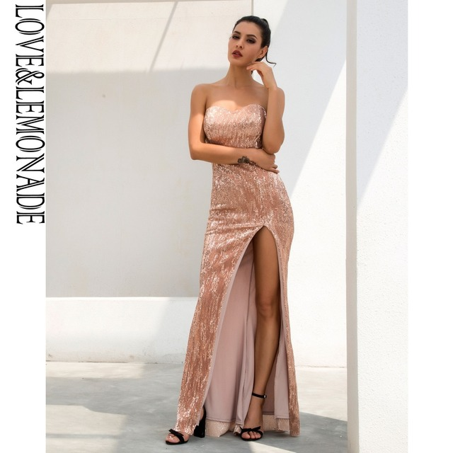 a16cbd747b5 Sexy Champagne Tube Top Cut Out Fish Tail Shaped Elastic Sequin Material  Long Dress LM1055