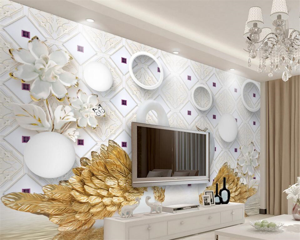 Beibehang Custom wallpaper 3D swan modern abstract art wall murals ...