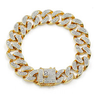 Lucky Sonny Cuban Bracelet Gold Filled Cubic Zircon Iced Out Hip Hop Bling Link Chain Bracelet Men Party Jewelry Free Shipping