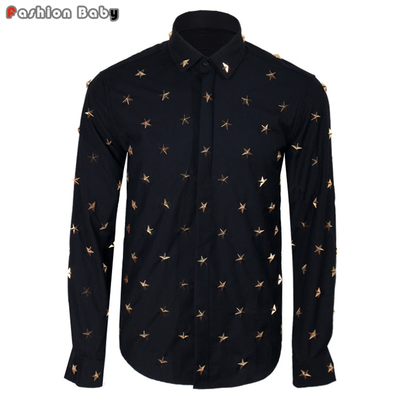 Top Quality Men's Metal Stars Rivets Long Sleeve Dress ...