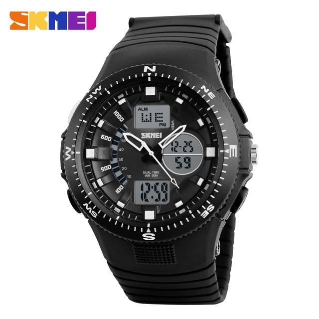 SKMIE 1198 Men Digital Sport Watch Outdoor Dual Time Display Wristwatches Alarm Clock EL Back Light Chronograph Watches