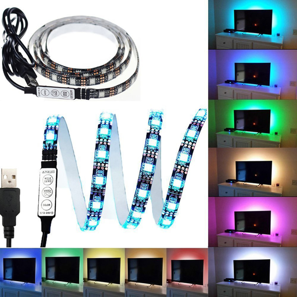 Usb Led Strip Light Rgb Tape Flexible Neon Tv Backlight Lights For Pc Smd 5050 5v Fita Diode Lamp Ambilight Party Ledstrip Ruban