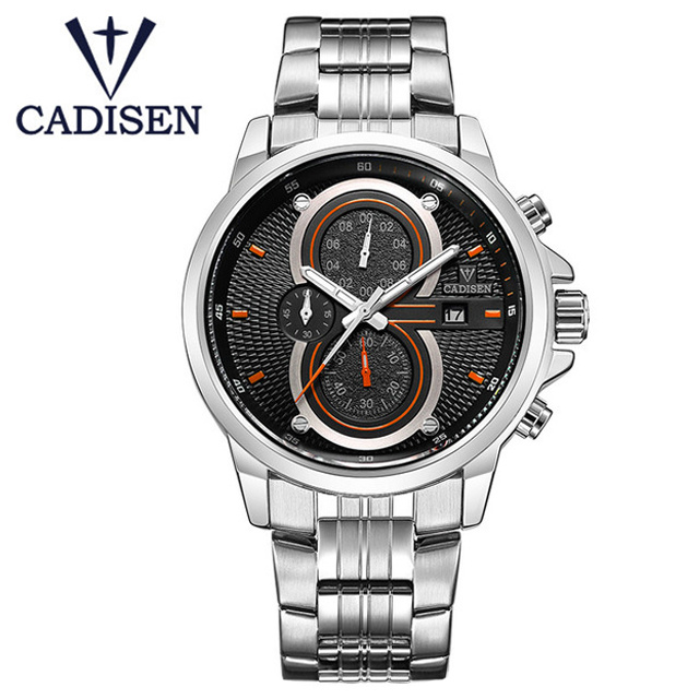 CADISEN Brand Fashion Men's Full Stainless Steel Military Casual Sports Watch Men Business Quartz Wristwatch Relogio Masculino free drop shipping 2017 newest europe hot sales fashion brand gt watch high quality men women gifts silicone sports wristwatch