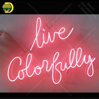 Live Colorfully Neon Sign Glass Tube Handmade neon light Sign Decorate Home Bedroom Windows Iconic Lovely Neon Lamps Advertise