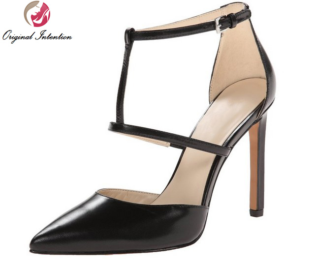 ФОТО Original Intention New Design Women Sandals Patent Leather Thin Heels Sandals Black Gray Nice Shoes Woman Plus US Size 4-15