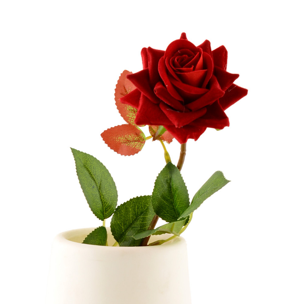 ⃝1pc Red Valentine\'s Mini Velvet Rose Spring Artificial Fake Flower ...