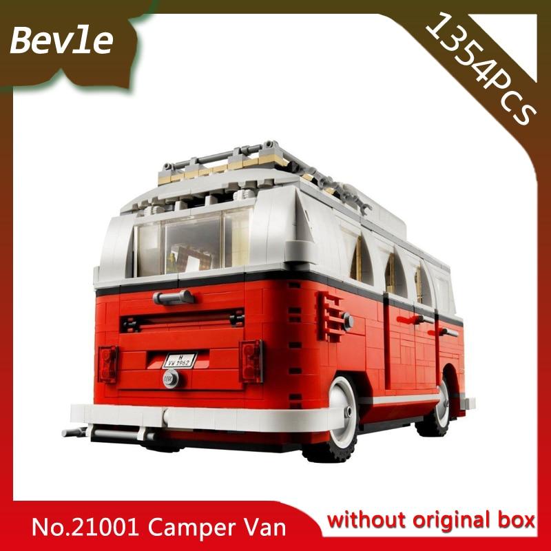 Bevle Store LEPIN 21001 1354cs Technic Series T1 Camper Van Car styling Building Blocks Bricks Children For Toys 10220 Gift managing the store