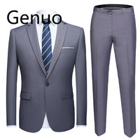 High quality 2019 men's fashion Slim suits 6XL men's business casual groomsman 2pcs wedding suit jacket pants trousers sets