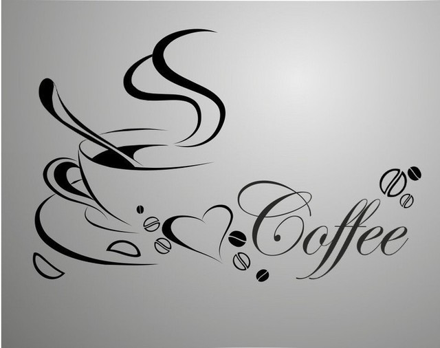 Free shipping coffee cup vinyl quote removable wall stickers diy home decor wall art