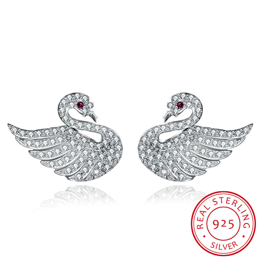 LEKANI 2018 Pair Swan Earrings For Women Shining Diamond S925 Sterling Silver Womens Earrings pulseira feminina
