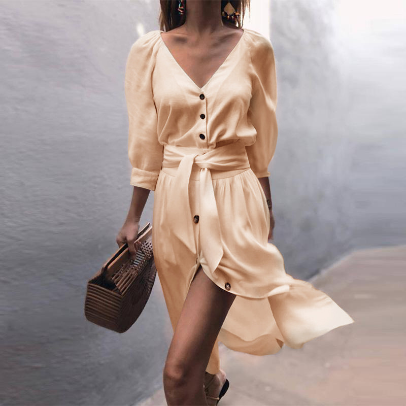 Girly HandBags Button Detail Belted Midi Dress