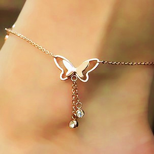 La joyería de la mariposa del pie de la boda las pulseras para el tobillo