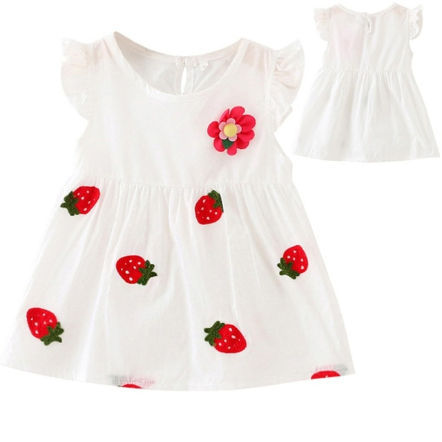 e5abd35ae 2017 Strawberry Print Girls Dress Kids Baby Girl s Puff Sleeve Party ...