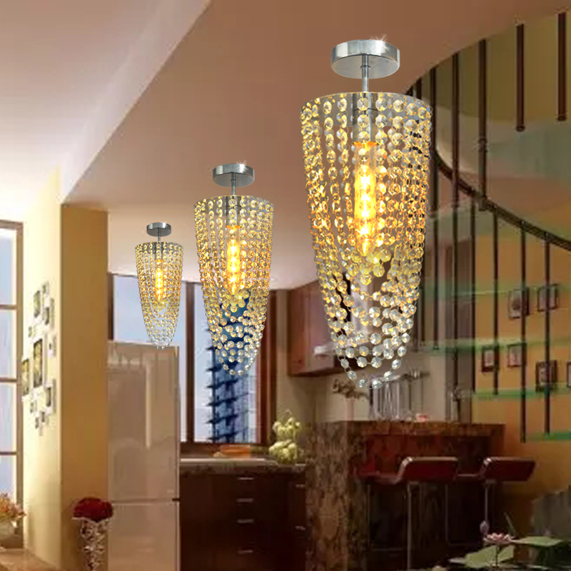3pcs/lot LED Chrome Modern K9 crystal <font><b>chandelier</b></font> lighting D17*H45cm AC110V-256V Transparent color <font><b>Ceiling</b></font> Fan Crystal <font><b>Chandelier</b></font>