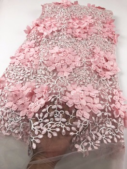 French Net Lace Fabric 2018 Latest african lace fabric with embroidery mesh tulle lace fabric A727-8