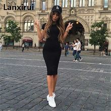 Lanxirui Summer 2018 Women Casual Short Sleeve Evening Party Dress Midi 3 Colors