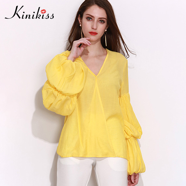 293659f51050a5 Plus Size Yellow Blouse Shirts Women Patchwork Long Lantern Sleeve Pullover  2018 Elegant Fashion V Neck Office Shirts Tops