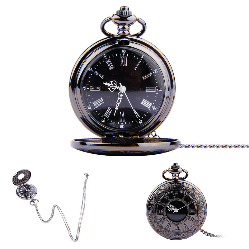 Vintage Roman Numerals Quartz Fob Pocket Watch With Chain Antique Jewelry Pendant Necklace Gifts LXH antique bronze dad pocket fob watches quartz vintage pocket watch with chain pendant men father s gifts box relogio de bolso