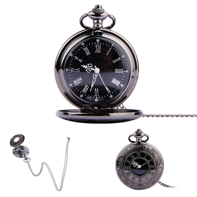 Vintage Roman Numerals Quartz Fob Pocket Watch With Chain Antique Jewelry Pendan