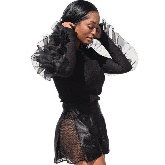 61f4282cbb4 Women Winter Mesh Patchwork Ruffle Blouse Long Sleeve Shirts Streetwear  Korean Style Women Plus Size Tops and Blouses Clothing