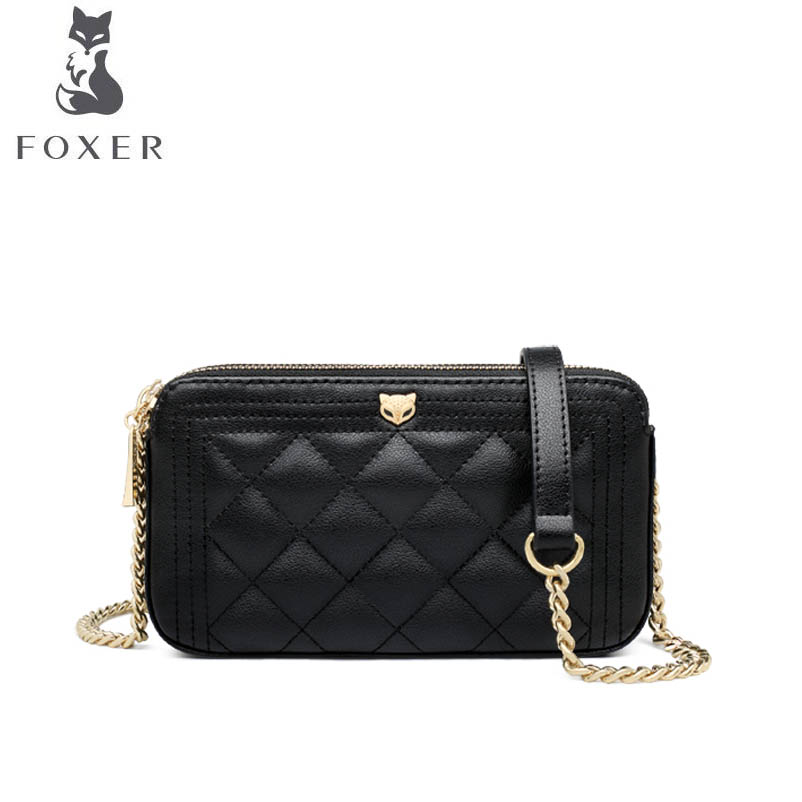 FOXER 2018 New women leather bag luxury handbags designer Chain bag simple messenger bag fashion women leather shoulder bag недорго, оригинальная цена