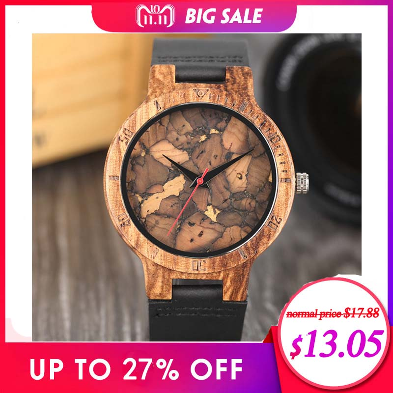 Creative Simple Wood Watches Men's Zebra/Cork Slag/Broken Leaves Face Wrist Watch Original Wooden Bamboo Male Clock Relogio 2017 black coffee dial zebra wood watch men quartz modern bamboo wooden creative watches 2017 new arrival handmade simple clock gift