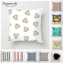 Fuwatacchi Geometric Printed Cushion Cover Colorful Soft Flower Covers Decorative Sofa Pillow Case New 2019 Arrival