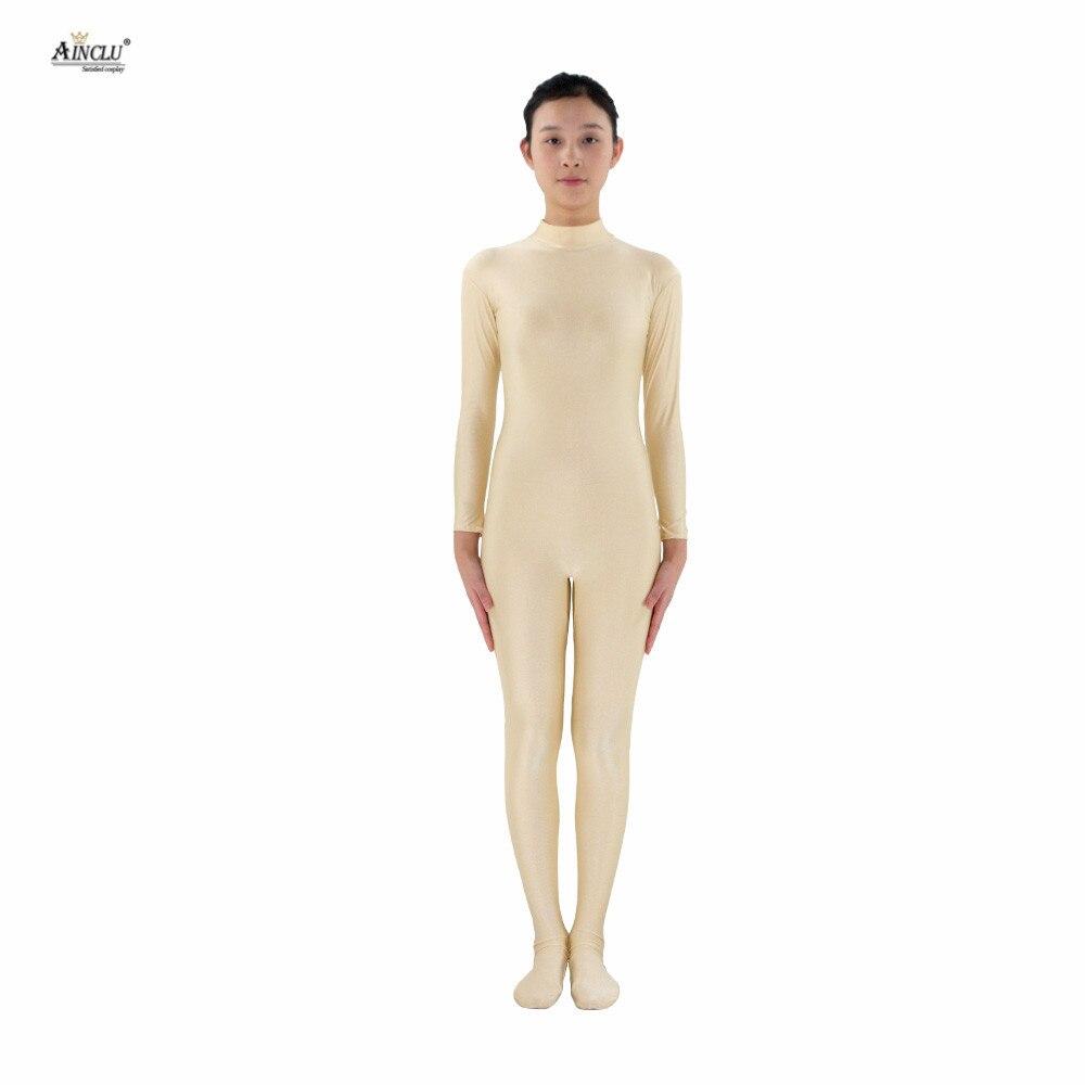 Ainclu Women Lycra Spandex Zentai FleshColor Skin-tight Without Head and Bare Hands Adults Dancewear Costume Hallween Bodysuit