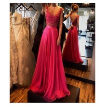 2016 Elegnat A-linie Scoop Backless Bodenlangen Abendkleid Mit Aplliques Rose Red Abendkleid Benutzerdefinierte Vestido De Noche