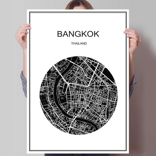 Abstract print picture bangkok world city map modern poster canvas or coated paper oil painting cafe