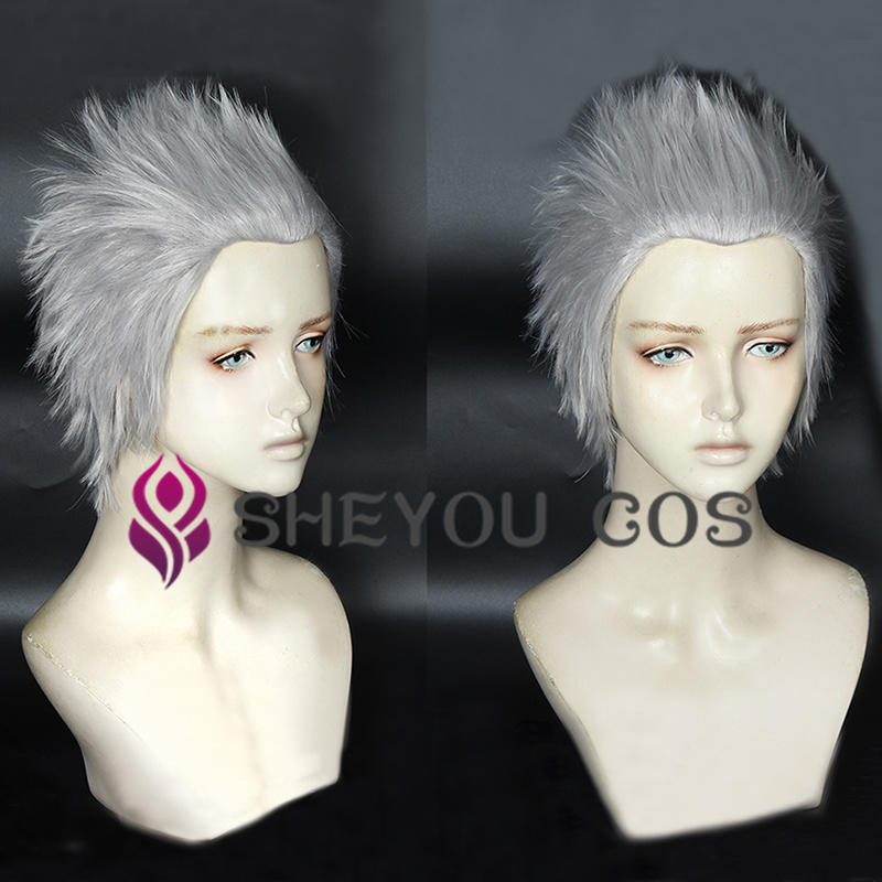 Vergil Cosplay Wig Short Silver Slicked-back Hair Heat Resistant Cosplay Costumes Halloween Cos Hair Wigs + Wig Cap