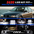 21x White LED Lights Kit Interior Dome Map lamp CANBUS  5630 5730 SMD For BMW E46 Sedan Coupe M3 1998-2005 Free Shipping #79