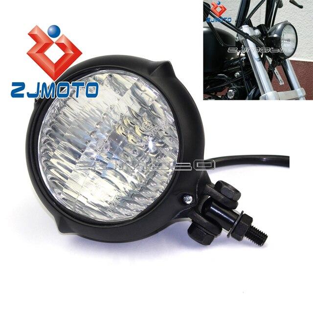 Metal Retro Motorcycle 12V Black Hight Low Beam Bulb Headlight Amber For Sportster Roadster Cafe