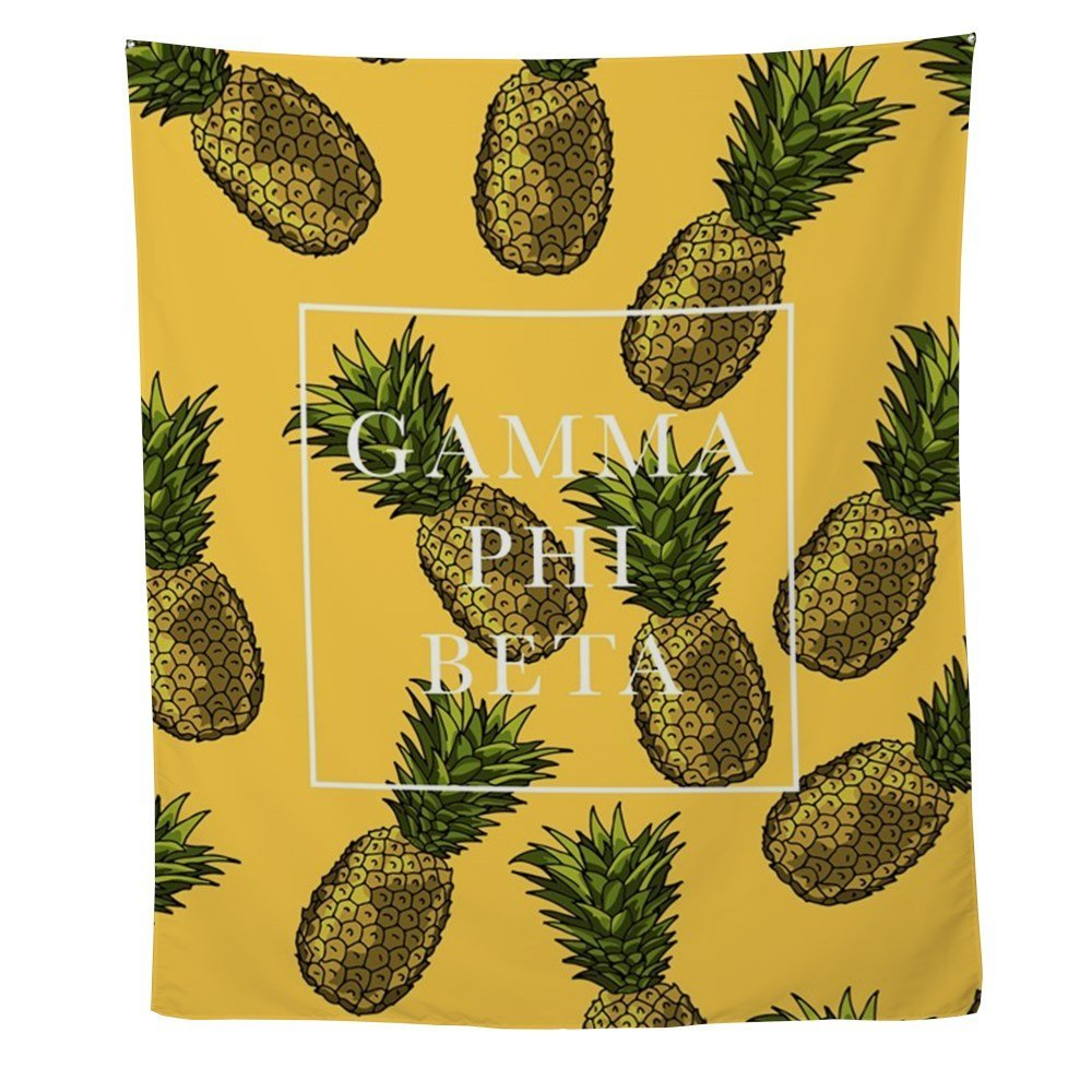 Gamma Phi Beta Pineapples Wall Tapestry for Wall Decoration Fabric ...